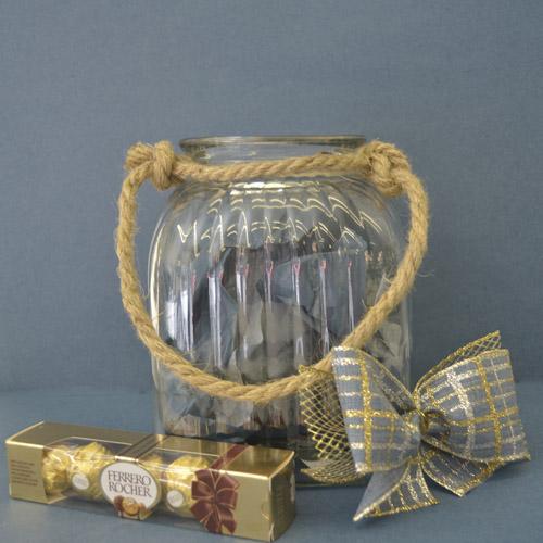 Glass square ridge  jar with rope handle